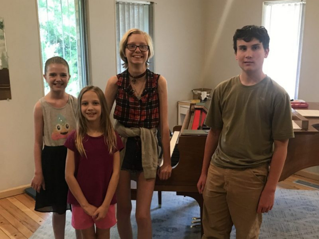 4 students attended camp, 3 already enrolled in lessons, and one new to piano
